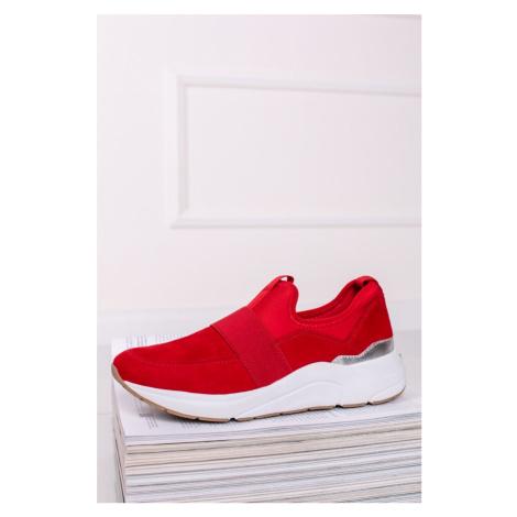 Červené kožené slip-on tenisky 9-24701 Caprice