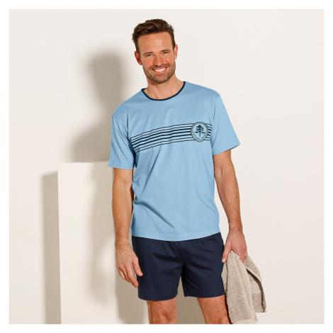 Blancheporte Pyžamo se šortkami a krátkými rukávy modrá/nám.modrá