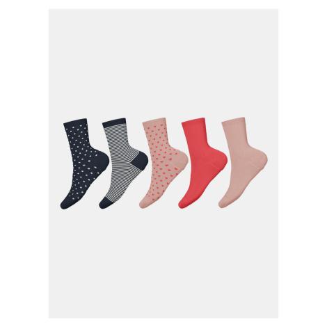 Sada pěti párů holčičích ponožek v modré barvě a růžové barvě name it