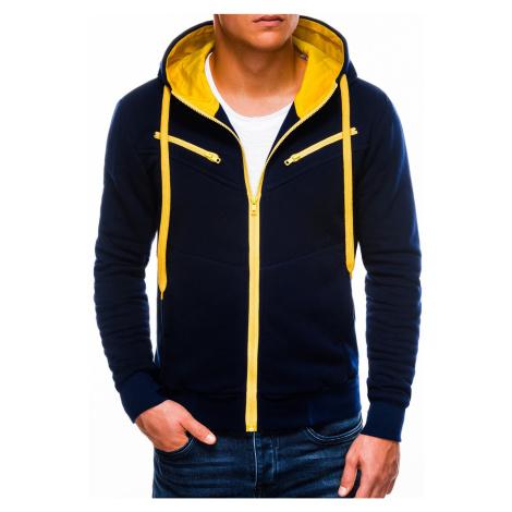 Pánská mikina na zip s kapucí Amigo navy-žlutá Ombre Clothing
