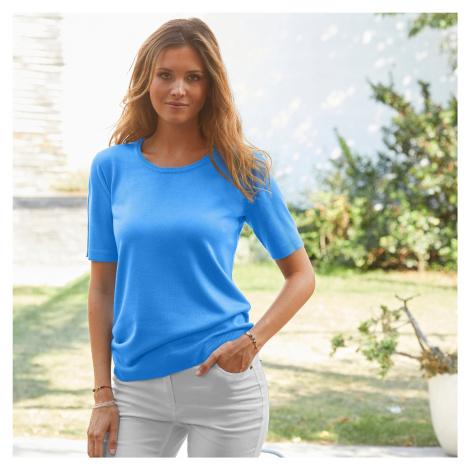 Blancheporte Jednobarevný pulovr s krátkými rukávy modrá