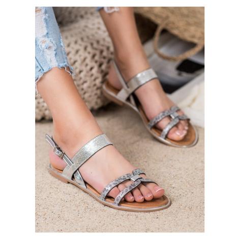 Komfortní  sandály šedo-stříbrné dámské bez podpatku VINCEZA