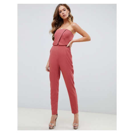 ASOS DESIGN structured bandeau jumpsuit with peg leg - Pink