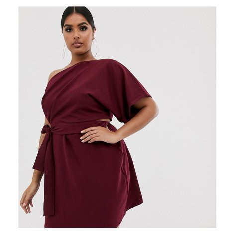 Vesper Curve one shoulder mini dress with cut out and tie detail in rasberry