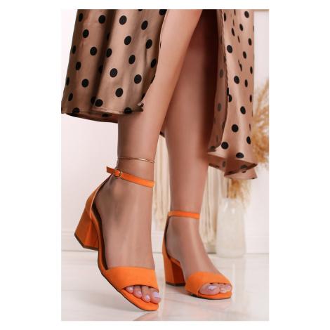 Oranžové semišové sandály na hrubém podpatku 5-28318 s.Oliver