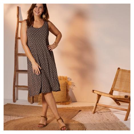 Blancheporte Krátké šaty s grafickým designem černá/khaki