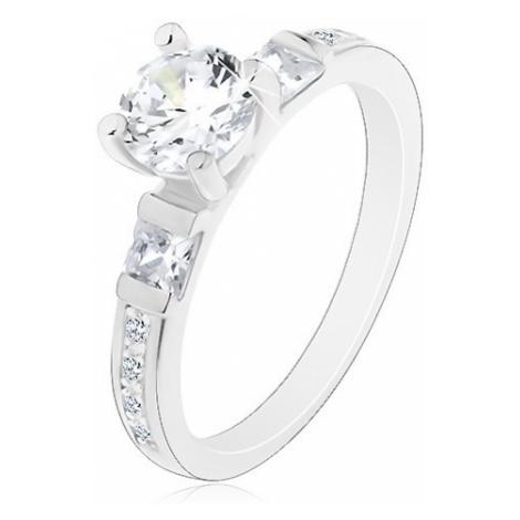 Zásnubní prsten, stříbro 925, velký kulatý zirkon, třpytivá ramena
