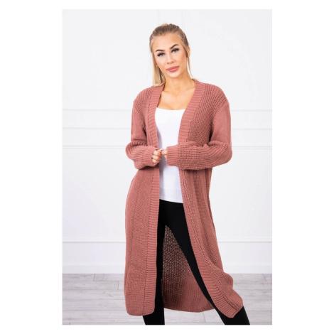 Sweater long cardigan dark pink