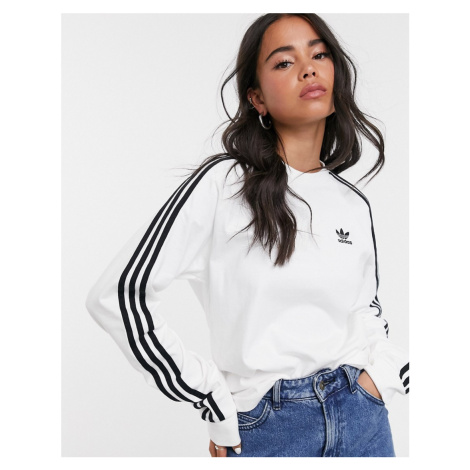 Adidas Originals adicolor three stripe long sleeve t-shirt in white