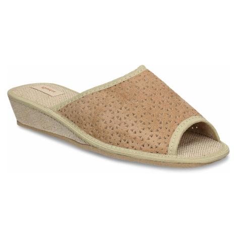 Béžové dámské domácí pantofle Baťa