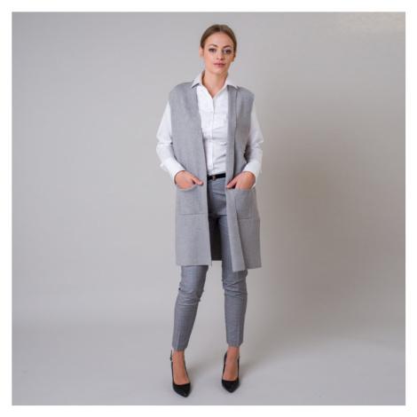 Dlouhá dámská vesta šedé barvy 11166 Willsoor