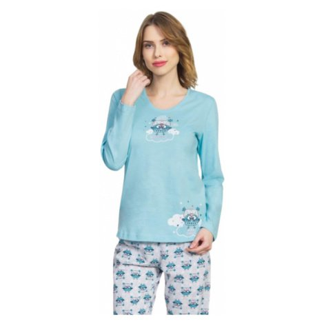 Dámské pyžamo dlouhé Vienetta Secret Sovičky | světle tyrkysová
