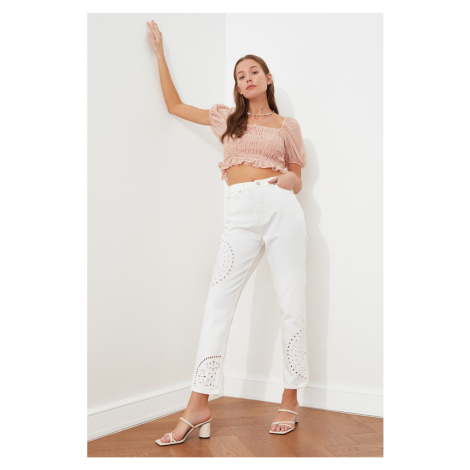 Trendyol White Embroidery Detailed High Waist Mom Jeans
