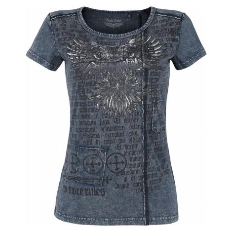 Rock Rebel by EMP blaues T-Shirt mit Waschung und Print dívcí tricko modrá