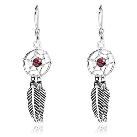 Stříbrné 925 náušnice, lapač snů, tmavě červený korálek a pírka, 10 mm Šperky eshop