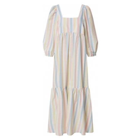 EDITED Šaty 'Chaya' přírodní bílá / světle žlutá / růžová / světlemodrá