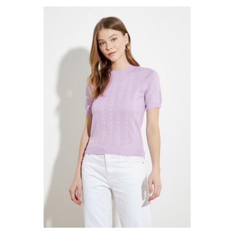 Trendyol Lila Knitting Detailed Knitwear Sweater