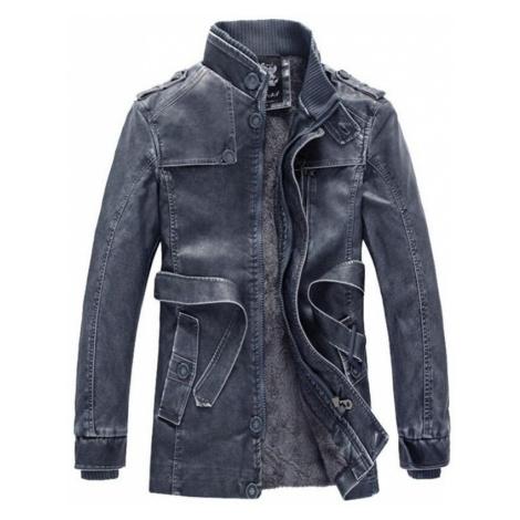 Zimní kožená bunda s kožešinovou podšívkou a páskem v pase