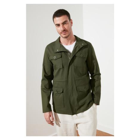 Trendyol Khaki Men's Pocket Hidden Zipper Detail Coat
