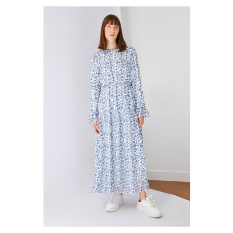 Trendyol Navy Blue Crew Neck Chiffon Patterned Dress