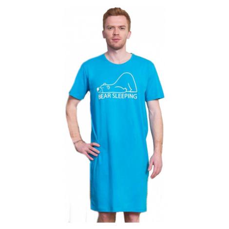 Pánská noční košile s krátkým rukávem Vienetta Secret Bear | tyrkysová