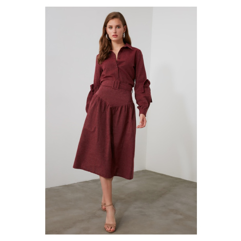 Trendyol Burgundy BeltEd Skirt
