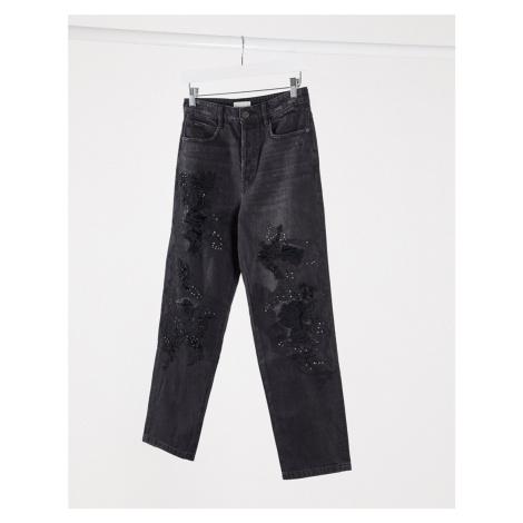 Miss Sixty Declan distressed embellished mom jeans-Black