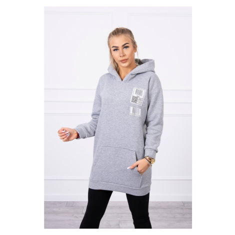 Hooded sweatshirt with patches gray Kesi