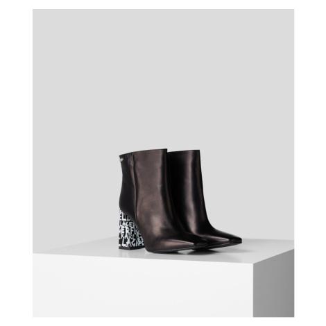 Kotníková Obuv Karl Lagerfeld Metro Graffiti Heel Ankle Bt - Černá