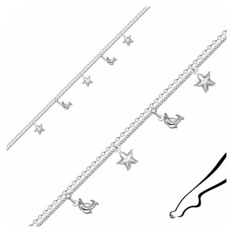 Náramek na kotník z 925 stříbra - zdvojený řetízek, zdobený delfíny a hvězdicemi Šperky eshop
