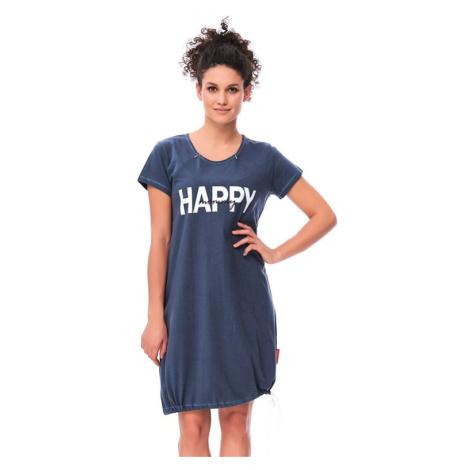 Mateřská noční košile Happy mommy tmavě modrá se zipem
