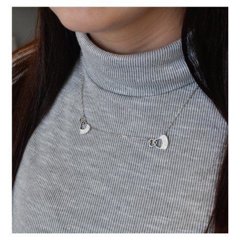 Evolution Group Stříbrný náhrdelník s krystaly Swarovski srdce 72047.1