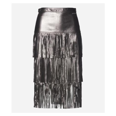 Sukně Karl Lagerfeld Faux Leather Fringe Skirt - Černá