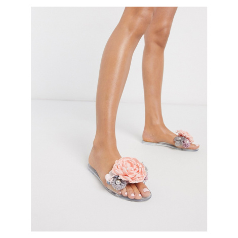 ASOS DESIGN Florist pearl jelly sliders-Clear