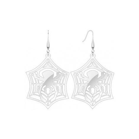 Visící ocelové náušnice - pavouk v síti Šperky eshop