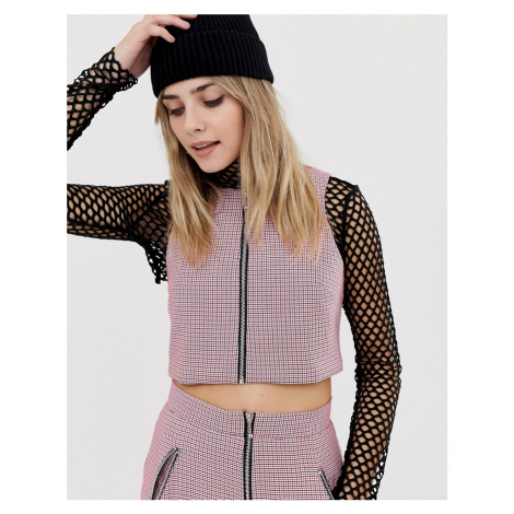 The Ragged Priest zip up crop top in mini check-Pink