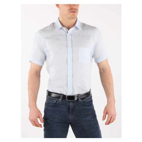 Košile Trussardi Shirt Close Fit Trend Collar S/S Stripes Linen Bílá