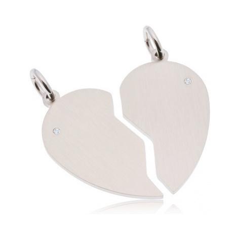 Dva přívěsky z chirurgické oceli stříbrné barvy, matné rozpůlené srdce, zirkony Šperky eshop