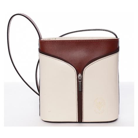 Dámská kožená crossbody kabelka Vera Pelle Formosa, béžovo/hnědá Delami Vera Pelle