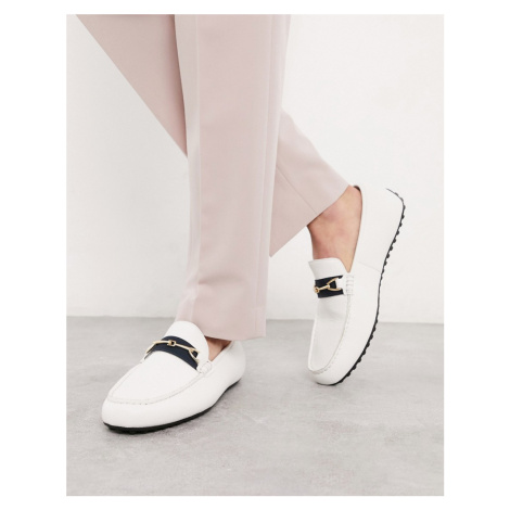 ASOS DESIGN driving shoes in white faux leather and tape detail