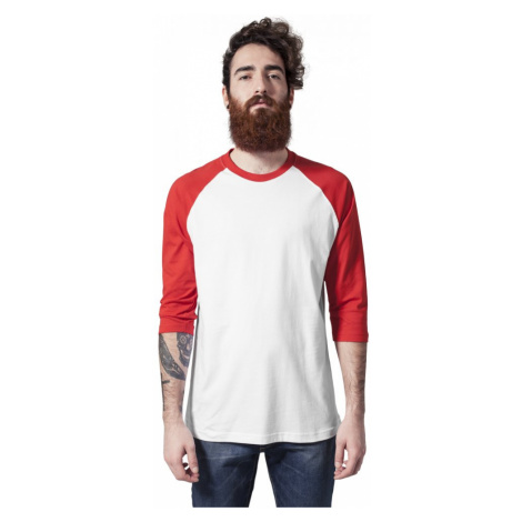 Contrast 3/4 Sleeve Raglan Tee - white/red Urban Classics