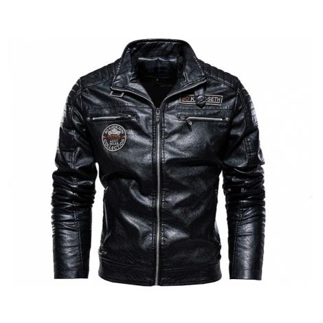 Zimní kožená bunda pánská motorkářská bunda na motorku