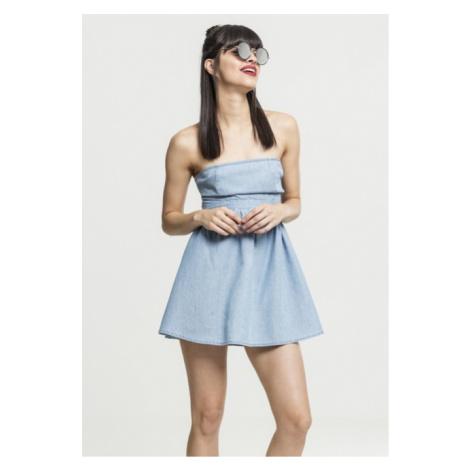 Urban Classics Ladies Denim Bandeau Dress bluewash