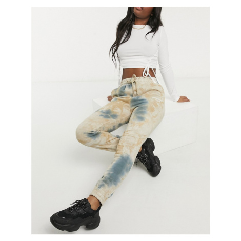 Sixth June relaxed joggers in washed tie-dye co-ord-Beige