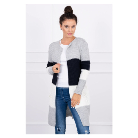 Sweater Cardigan in the straps gray+navy blue Kesi