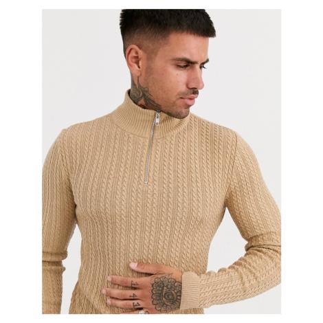 ASOS DESIGN muscle fit lightweight cable half zip jumper in camel-Tan