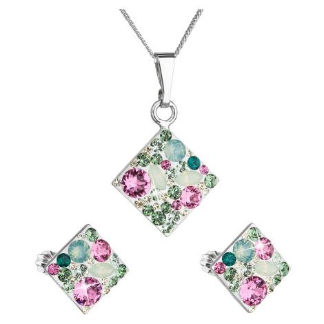 Evolution Group Sada šperků s krystaly Swarovski náušnice, řetízek a přívěsek zelený kosočtverec