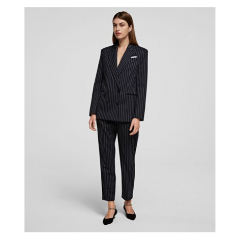 Kalhoty Karl Lagerfeld Pinstripe Pants - Modrá
