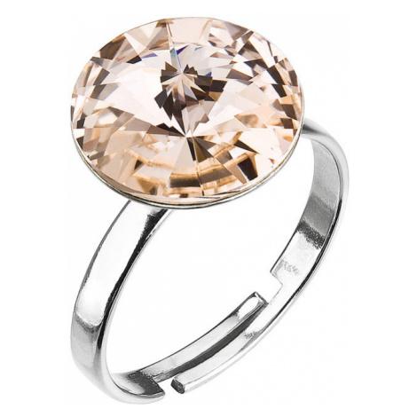 Evolution Group Stříbrný prsten s krystaly hnědo-zlatý 35018.3 silk