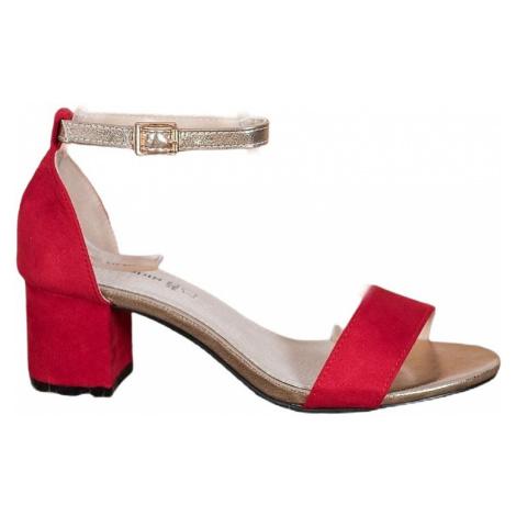 červené elegantní sandálky na sloupku BASIC